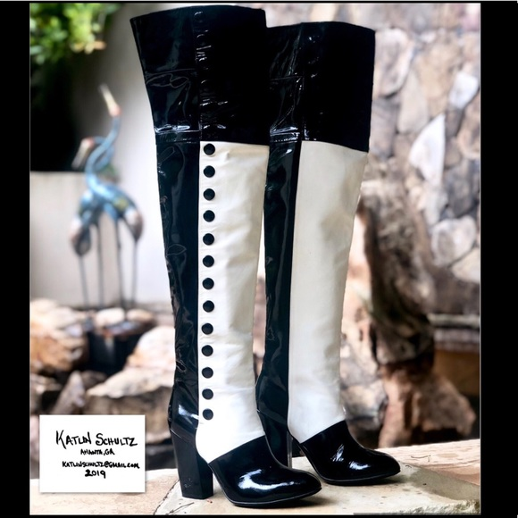 CHANEL Shoes - AUTH CHANEL OVER THE KNEE PATENT & LAMBSKIN BOOTS